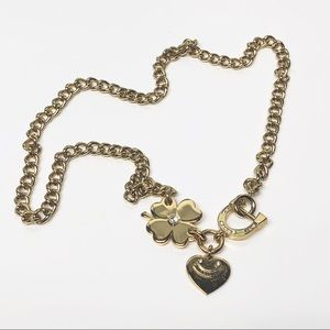 Juicy Couture Heart & Clover Charm Necklace